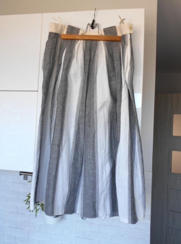 Spódnice vintage rozkloszowana spódnica paski bawełna midi