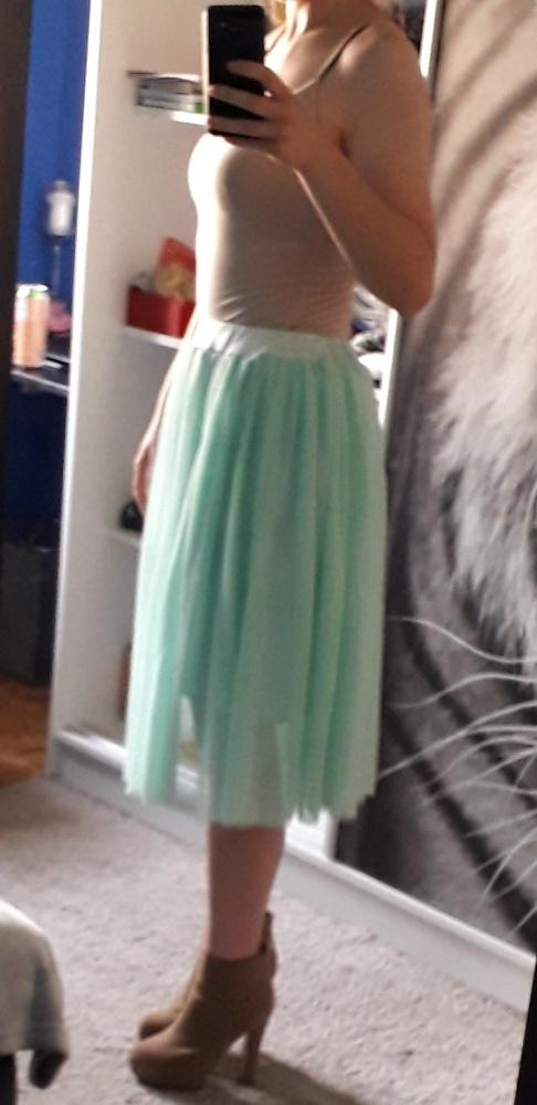 Piękna miętowa tiulowa spódnica S...