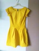 Layla rozkloszowana żółta sukienka 36 S soczysta e