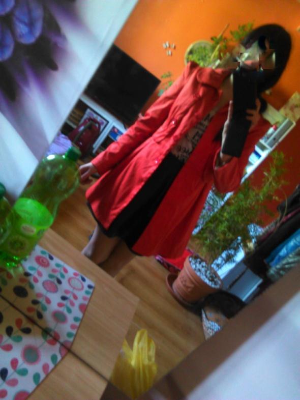 Uroczy elegancki plaszcz 36 S pomaranczowy rudy p