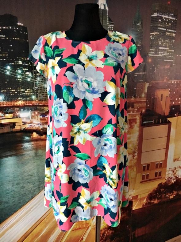 atmosphere sukienka zwiewna trapezowa kwiaty floral 42...