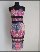 Piękna dopasowana kolorowa sukienka z siateczką 36 i 38...