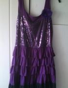 Śliczna fioletowa sukienka XL XXL...
