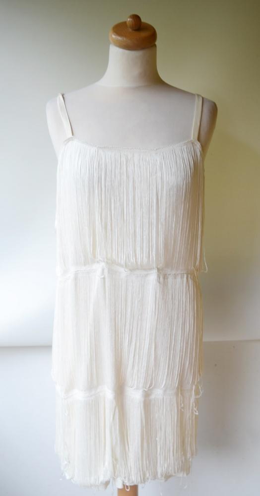 Sukienka H&M M 38 Kremowa Frędzle Frędzelki Imprezowa...