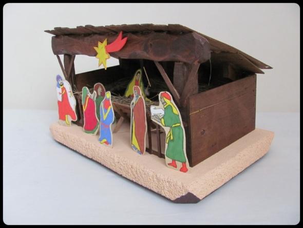 Pozostałe Duża SZOPKA Bożonarodzeniowa drewno sianko 49 x 28 cm