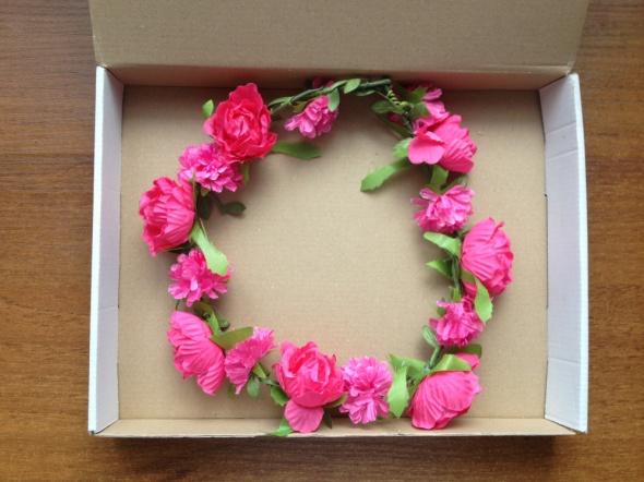 Wianek do włosów kwiaty boho różowe różowy nowy romantyczny