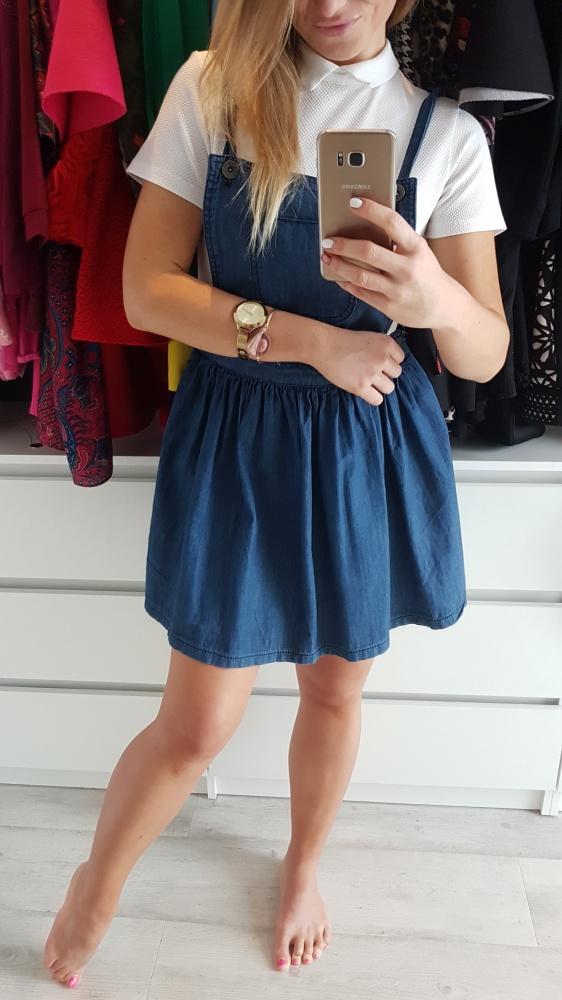 Suknie i sukienki Jeansowa sukienka ogrodniczka