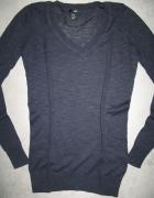 H&M granatowy damski dopasowany sweterek roz 34...