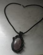 Bardzo ładny naszyjnik z galerii skóra rzemień agat oraz srebro...