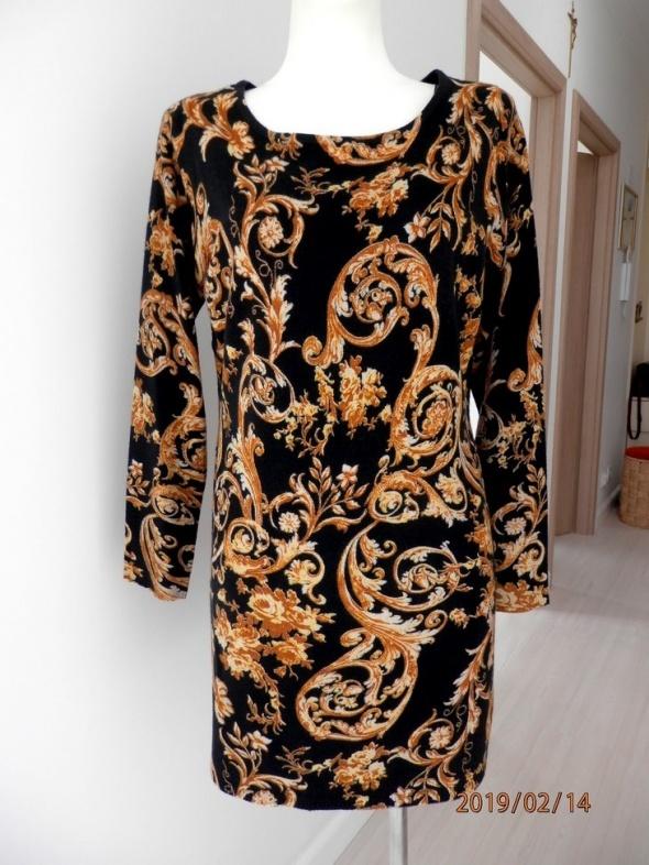 Sukienka Marks Spencer Dopasowana Dzianinowa Wzory w stylu Versace Nowa z Metką XL