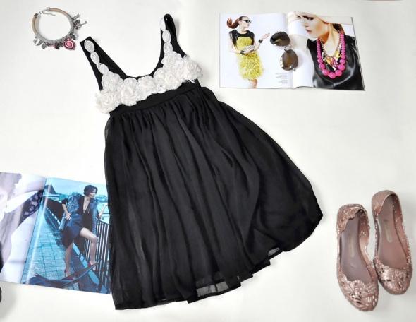 Suknie i sukienki Sukienka TOM WOLFE kwiaty 3D szyfon wieczorowa S