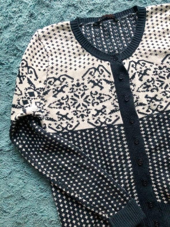 Rozpinany sweter sweterek wzór norweski...