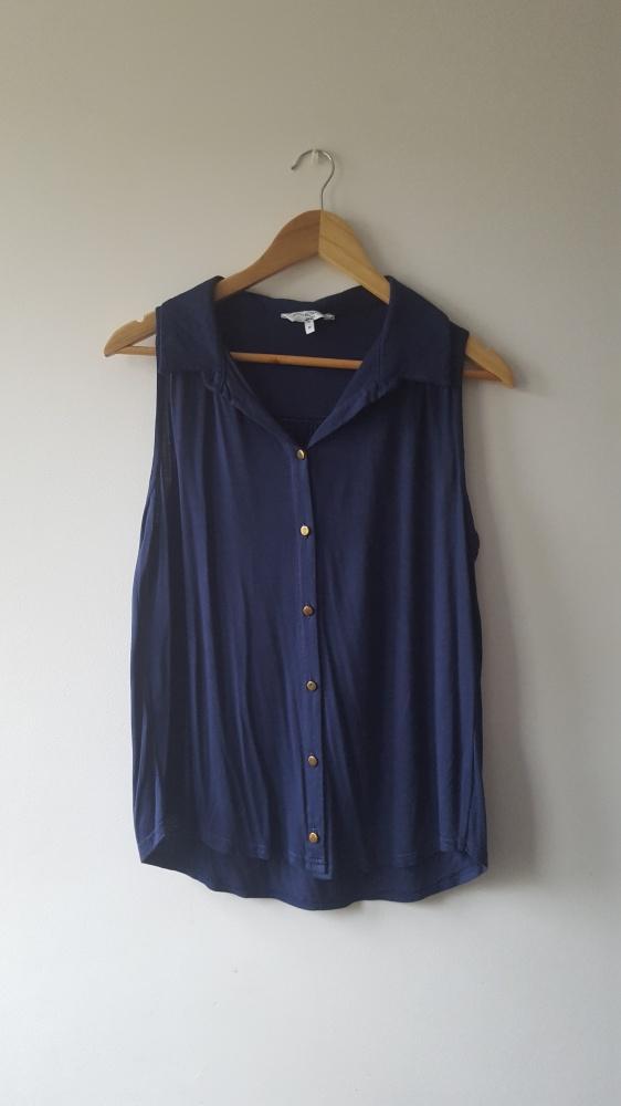 Granatowa bawełniana koszula bez rękawów L