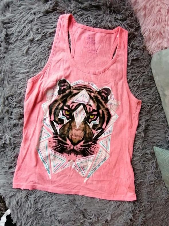 Różowy top bokserka Love to Launge tygrys neon S