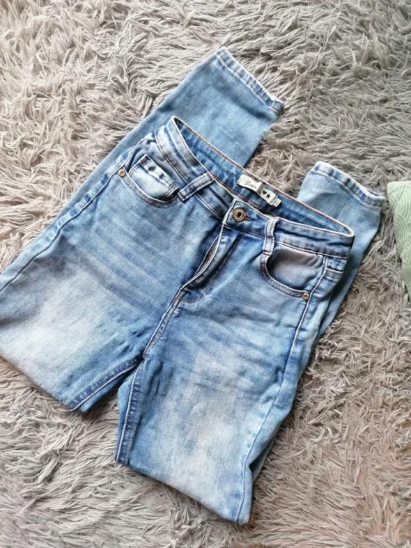 Jeansy rurki dopasowane spodnie wysoki stan XS S