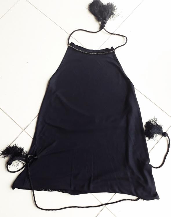 czarna elegancka bluzka z odkrytymi plecami rozmiar S