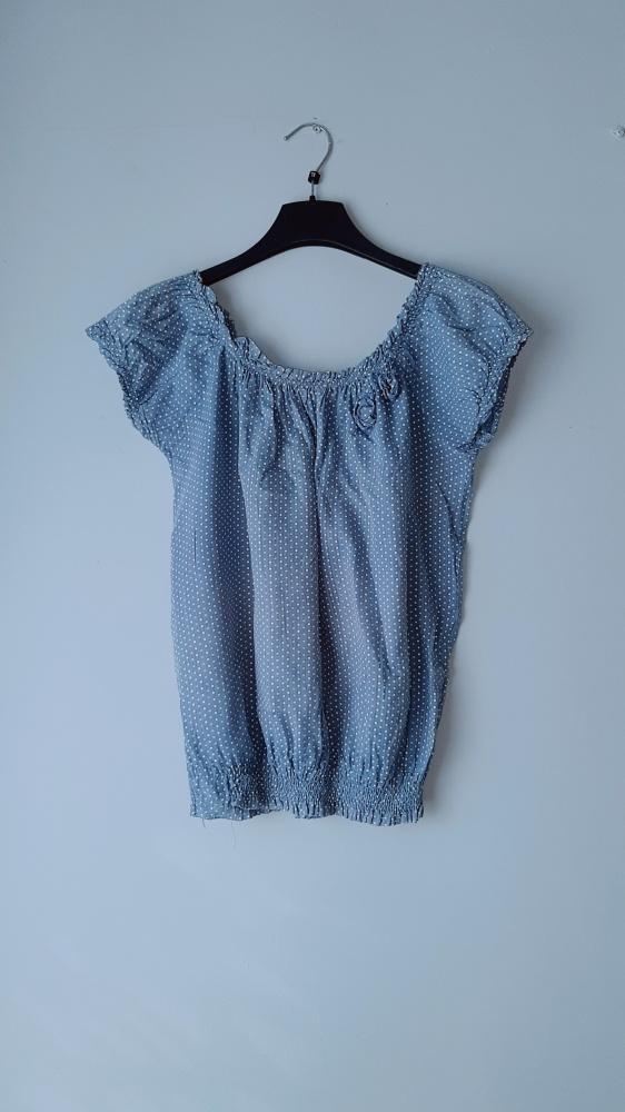 Idealna niebieska bluzka w kropki...