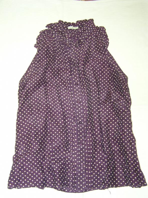 Massimo Dutti Cotton and Silk Blouse bluzeczka w kolorze bakłaż...
