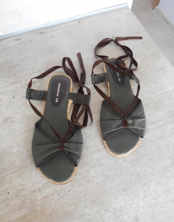 HM sandały na lato khaki wiązane sznurowane sandal