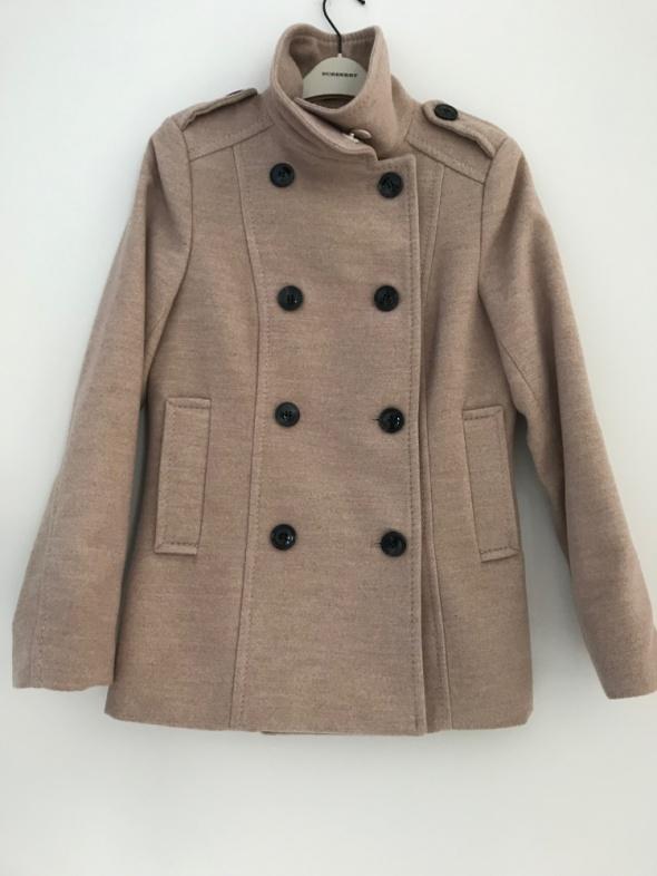 beżowy krótki płaszcz H&M flauszowy 36 S