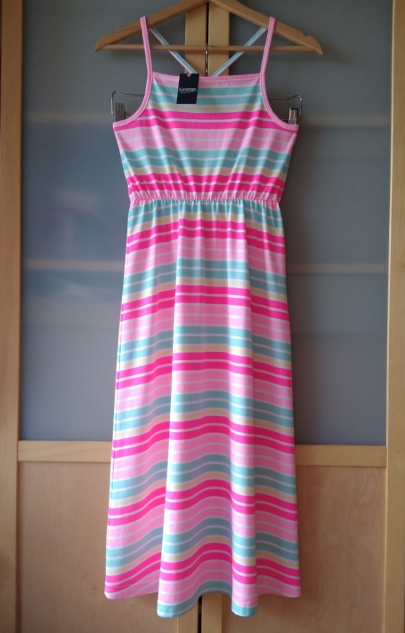Sukienka na lato w kolorowe neonowe paski George 140 146