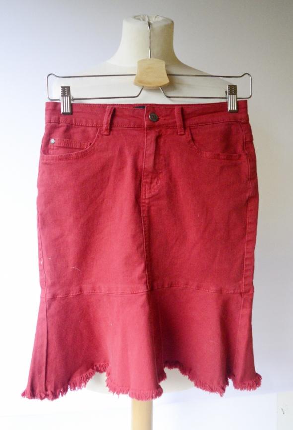 Spódnice Spódniczka Czerwona S 36 Dzinsowa Object Falbanka Jeans