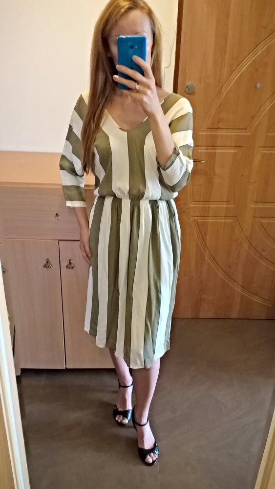 Sukienka midi w paski M L