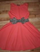 Koralowa sukienka M L...