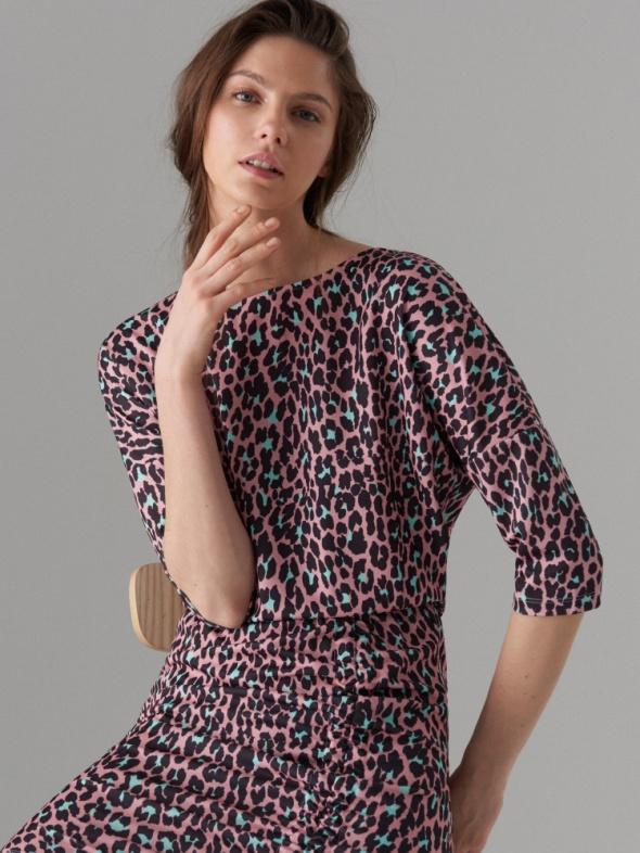sukienka 36 S Mohito panterka nietoperz ściągacz