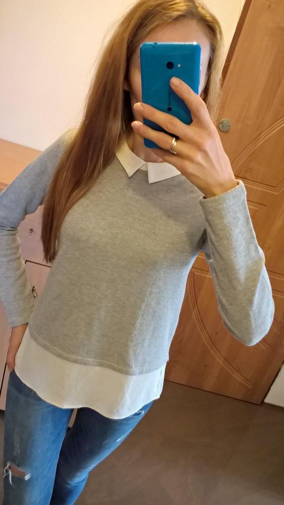 Szary sweterek bluza z koszulą S M...