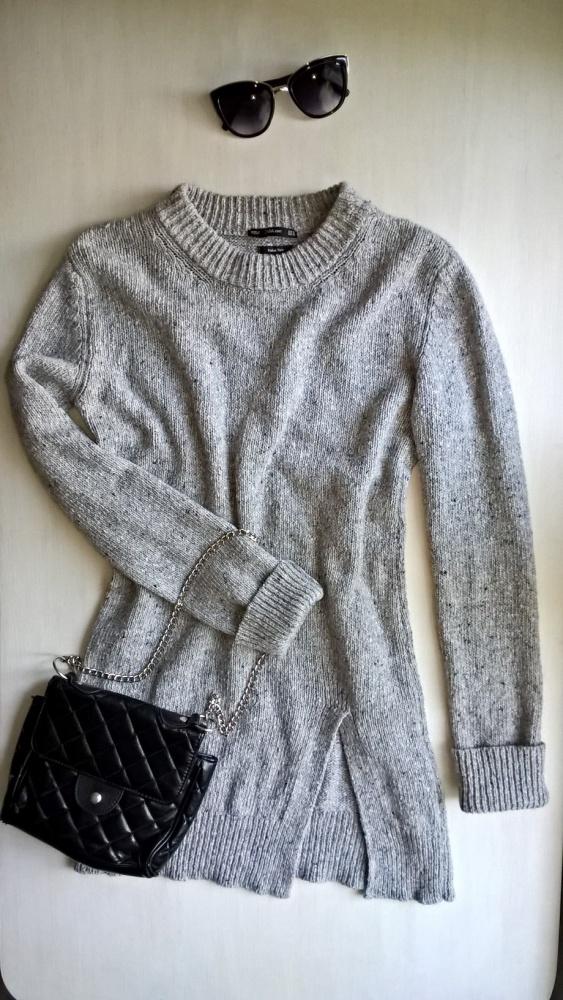 Szary długi sweterek Zara S M...
