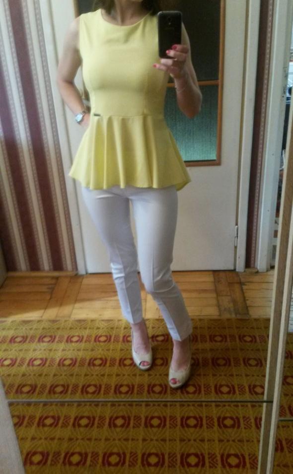 Żółta bluzka z baskinką XS 34