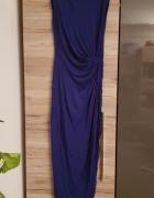 H&M sukienka maxi dress kobaltowa r 36 wiskoza...