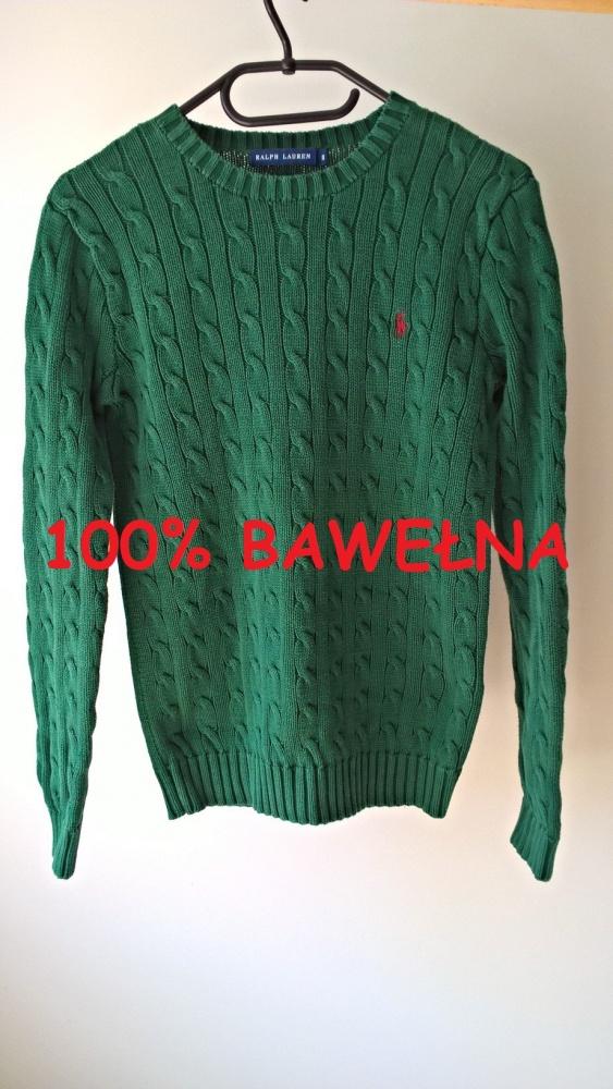 Sweterek butelkowa zieleń Ralph Lauren bawełna...