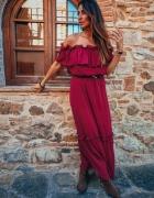 Czerwona sukienka boho hiszpanka maxi S M L XL...