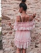 Sukienka pudrowa hiszpanka plisowana s m L XL
