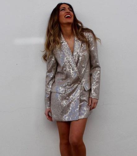 Zara nowa sukienka marynarka cekinowa kremowa nude oversize cek...