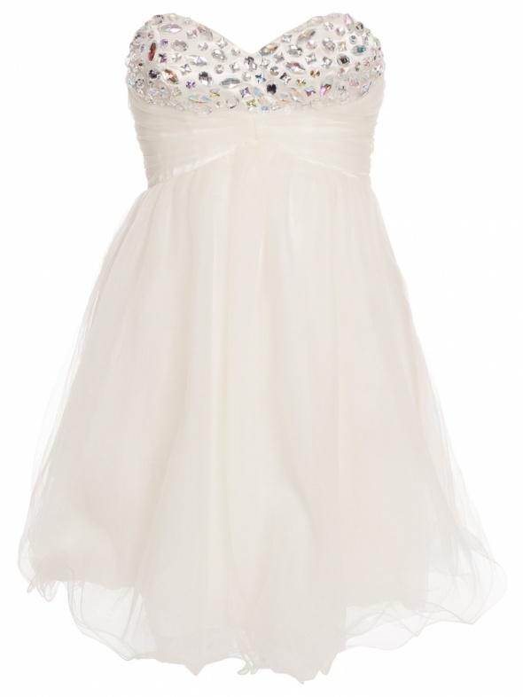 Nelly Nly Eve tiulowa sukienka gorsetowa biała kamienie tiul zdobiona nowa wesele