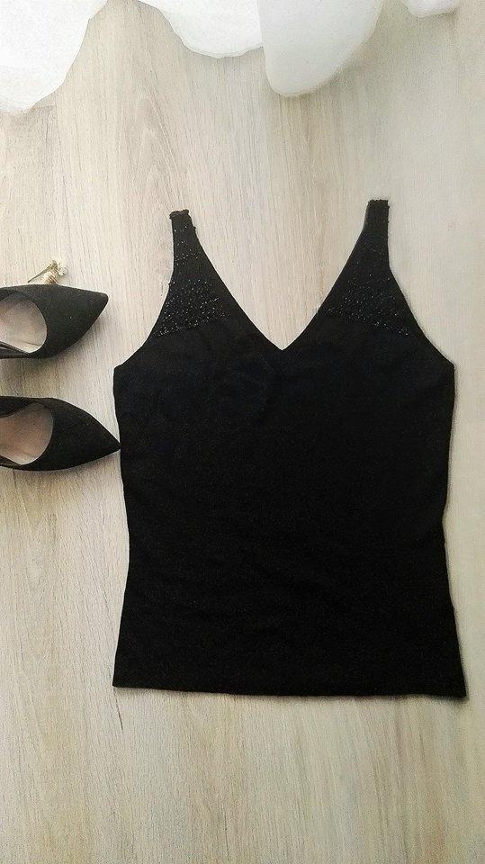 Piękna czarna bluzeczka z koralikami PRINCIPLES 3840 NOWA