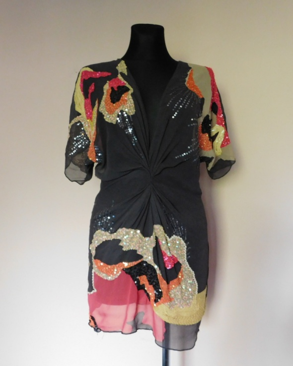 AllSaints bluzka szara cekiny tunika 36
