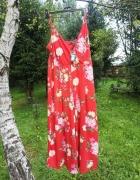 Czerwony Kombinezon W Kwiaty Primark...