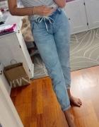 Spodnie jeansowe luźne ze ściągaczem joggers S...