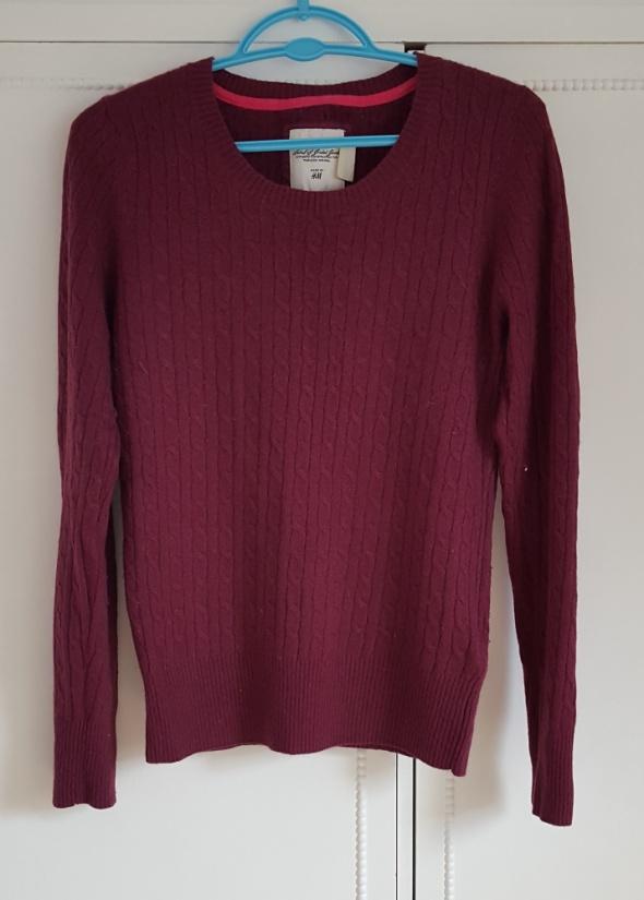 Sweter wełniany H&M 38 M wełna fioletowy śliwkowy wzór warkocz ...