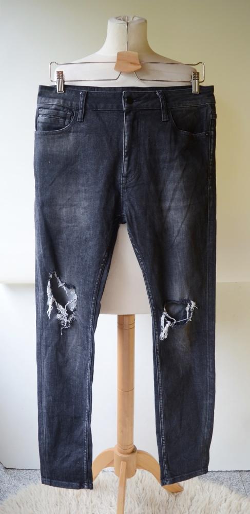 Spodnie Spodnie W30 L32 Szare Calvin Klein Jeans Taper Dziury