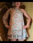 Sukienka Tunika błękitna w kwiaty na 1 ramię M 38...
