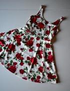 H&M biała sukienka w czerwone róże r 38 M jak nowa...