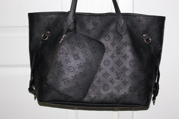 LOUIS VUITTON czarna torba torebka shopper duża elegancka na ra...