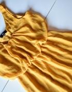 Żółta musztardowa zwiewna sukienka S Soho