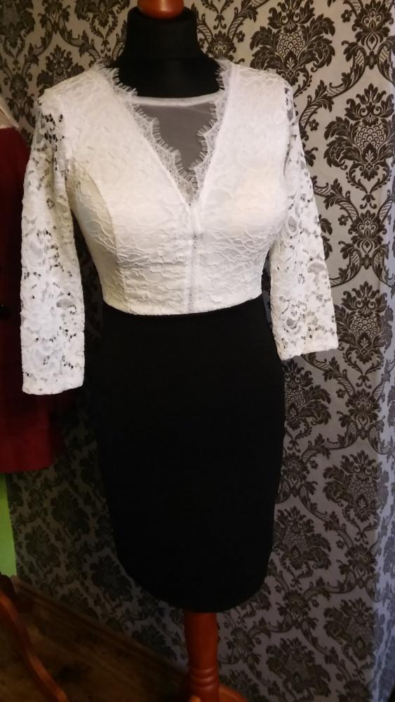 Biało czarna sukienka XS