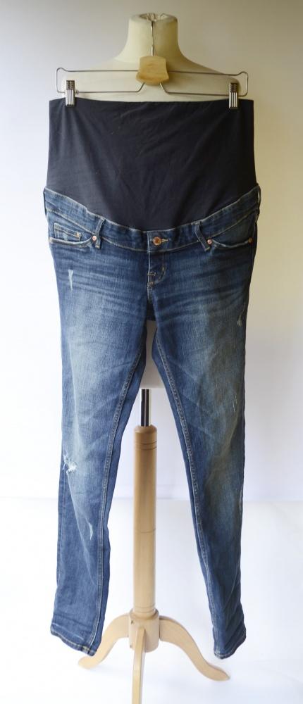 Spodnie H&M Mama Skinny XL 42 Dzinsowe Przetarcia Jeans